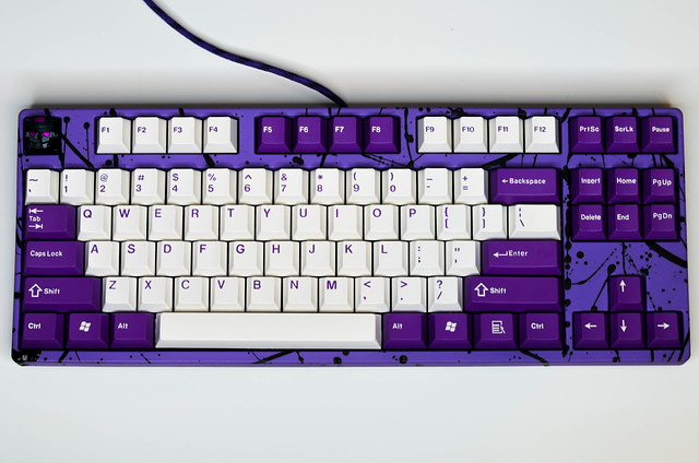 Purple Keyboard with Black Splatter 1