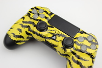 Yellow Tiger Stripes PlayStation 4 Contoller with Lit Buttons 1