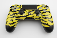 Yellow Tiger Stripes PlayStation 4 Contoller with Lit Buttons 10