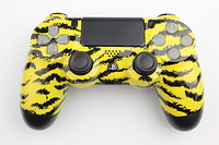 Yellow Tiger Stripes PlayStation 4 Contoller with Lit Buttons 11