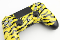 Yellow Tiger Stripes PlayStation 4 Contoller with Lit Buttons 2